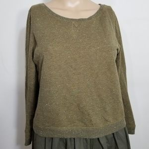 Anthro Holding Horses Olive Cropped Sweater XS